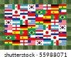 16 World National flag Pattern in grass frame - stock photo