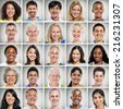 5x5 grid of close ups of smiling people - stock photo