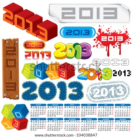 2013 Year. Calendar and Labels. Week Starts on Monday