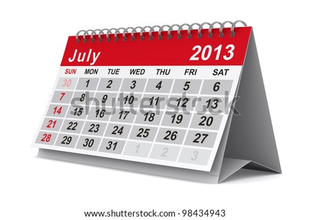 2013 year calendar. July. Isolated 3D image