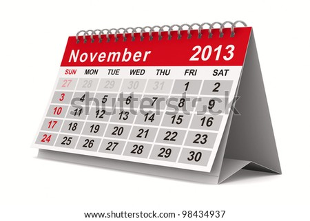 2013 year calendar. November. Isolated 3D image