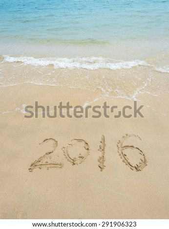 2016 year on the sea shore. Element of design