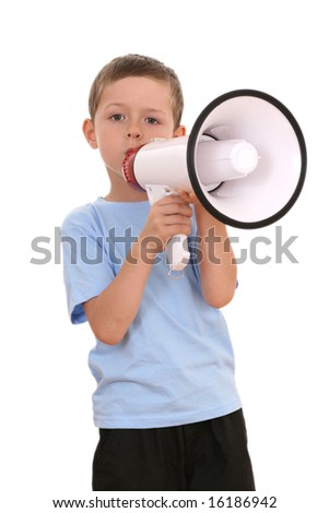 6-7 years old boy sitting with megaphone isolated on white