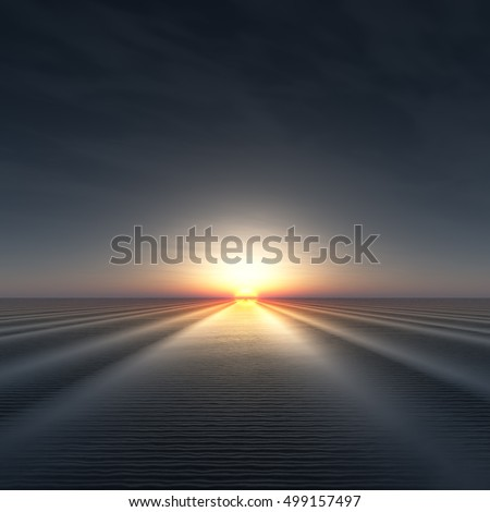 A background with sun on edge of horizon over rippled water 3d illustration.
