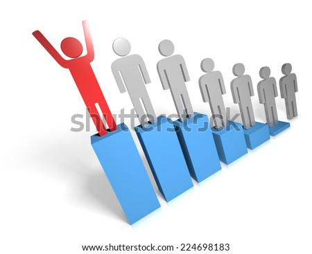 A bar chart with the person at the top with arms up