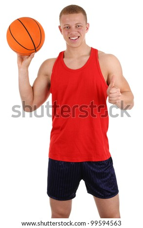 A basketball player, isolated on white