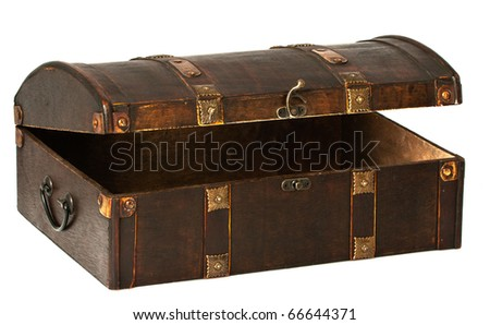 A beautiful open wooden chest with golden stripes.