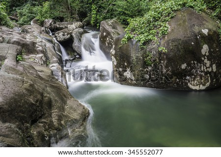 A beautiful scenery of waterfall in the Khao Chamao national park rain forest, Rayong province , Thailand