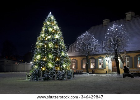 A beautifully decorated christmas tree in a town square