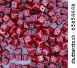 a big pile of red dice. 3D Image - stock photo