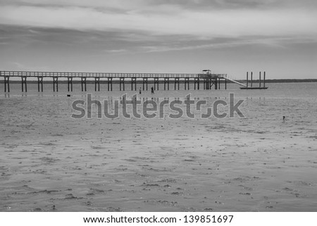 A black and white photo of two unidentified fishermen wading the low tide to fish near a pier in South Carolina.