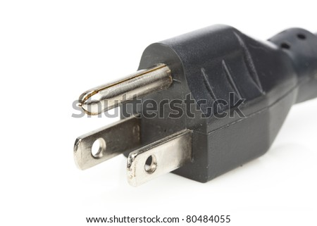 A black power cable against a white background