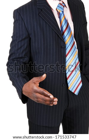 A black young man sitting for white background dreaming.