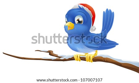 A blue bird sitting on snow covered branch wearing a Christmas hat