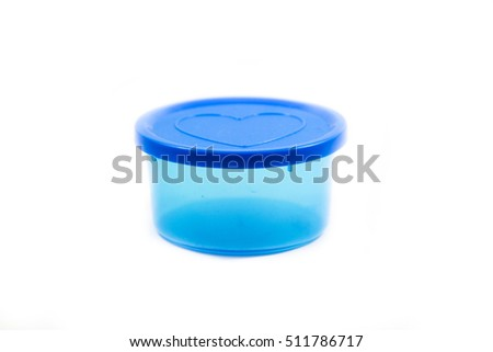 A blue container with a love heart shape on the cover isolated white background