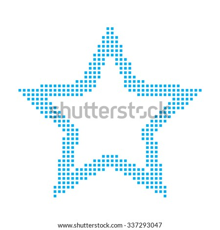 A Blue Mosaic Icon Isolated on a White Background - Star