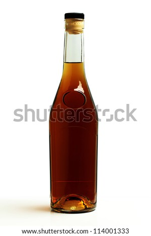 A bottle of brandy on a white background.
