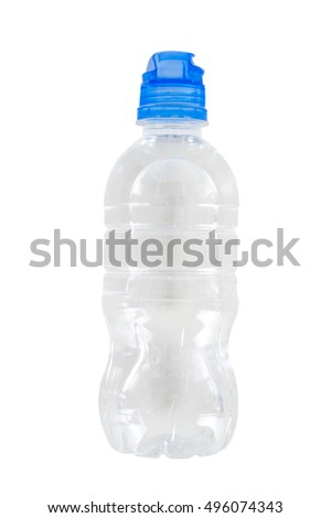 A bottle of water and a blue sports cap. On white, isolated background. Top view. Flat lay.