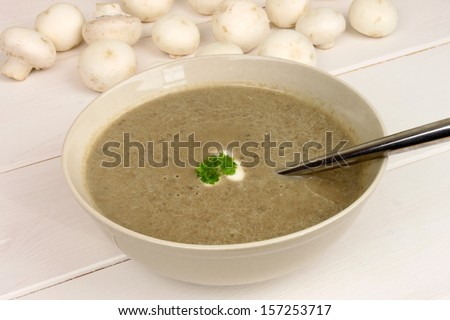 A bowl of healthy and freshly made mushroom soup.