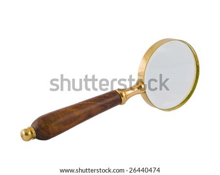 A brass and wood magnifying glass isolated on white.