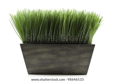 a brown planter box with green grass