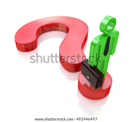 A business man stands on a question mark symbol to search find solution in the design of information related to the issues and business. 3d illustration
