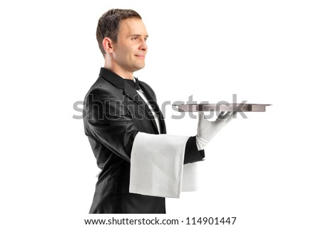 A butler with bow tie carrying an empty tray isolated against white background