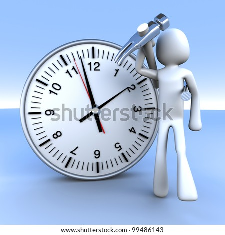 A cartoon figure with a clock. 3D rendered Illustration.