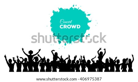 A cheering and dancing crowd of people at concert, disco, club