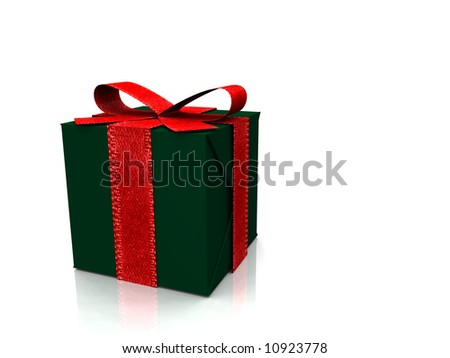 A christmas gift wrapped in green paper with a red ribbon on it.
