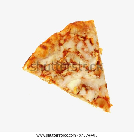 A close overhead view of a slice of baked cheese pizza.