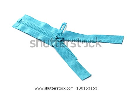 A close up shot of a blue zipper isolated over white backgrounds