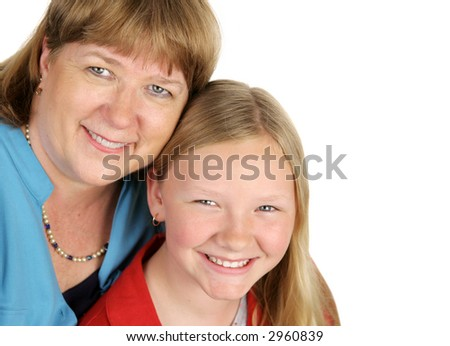 A closeup of a blond mother and daughter.  Isolated on white with room for text.