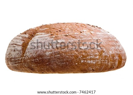 A closeup view of a freshly baked, whole loaf of bread, isolated on a white background.
