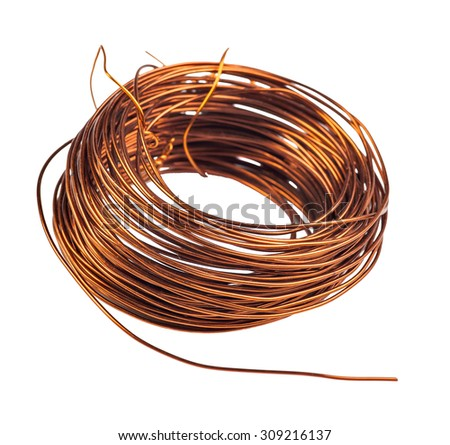 a coil of copper wire isolated on white background