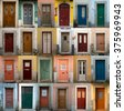 A collage of coloured portuguese doors from lisbon, portugal capital's - stock photo