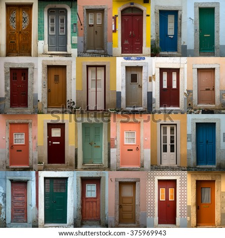 A collage of coloured portuguese doors from lisbon, portugal capital's