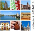 a collage of eight pictures of different scenes of Seville, Spain - stock photo