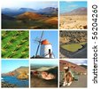 a collage of eight pictures of different views of Lanzarote, Spain - stock photo