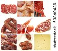 a collage of nine pictures of different spanish tapas - stock photo