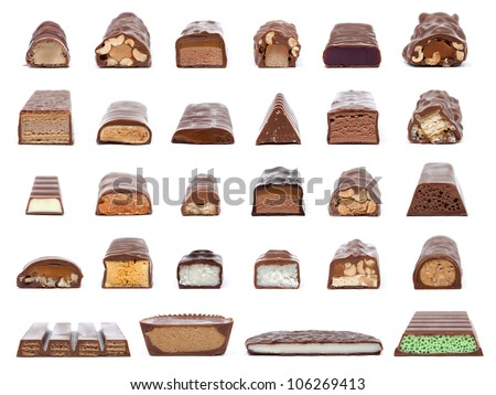 A collection of 28 chocolate bar cross-sections showing what is inside isolated on white.