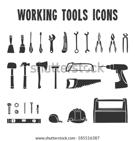 A collection of decorative construction or carpenter tool black  icons set isolated  illustration