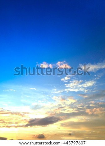 A colorful sky with cloud.