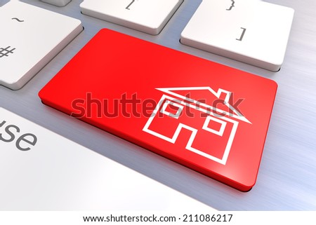 A Colourful 3d Rendered Illustration showing a Home Concept on a Computer Keyboard