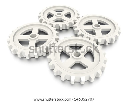 A concept graphic depicting a gear concept. Rendered against a white background with a soft shadow and reflection.