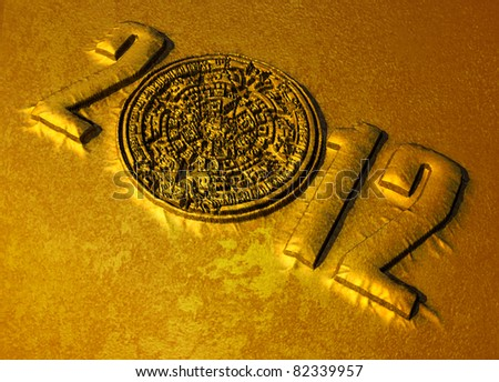 A conceptual 3d render of the Mayan calendar and 2012 year as if etched out of gold. Copy space