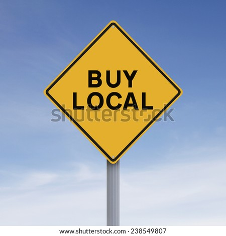 A conceptual road sign indicating Buy Local