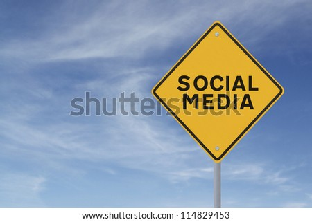 A conceptual road sign on social media (against a blue sky background)