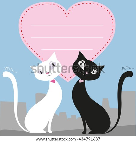 A couple of black and white cats, heart, greeting card or banner