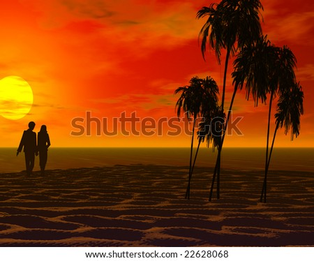 a couple walking on a beach at sunset or sunrise with palm trees